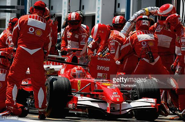Michael Schumacher of Germany and Ferrari makes a pit stop during the French Formula One Grand Prix at the Nevers MagnyCours Circuit on July 16 in...