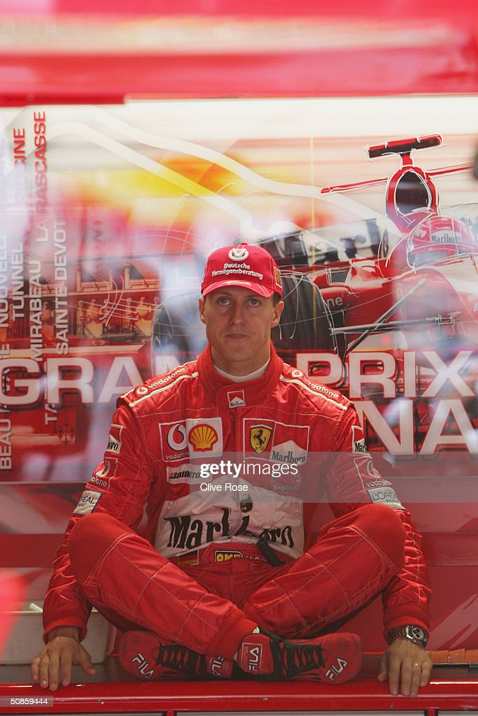 Michael Schumacher of Germany and Ferrari sits in the pits during practice for the Monaco F1 Grand Prix on May 20, 2004, in Monte Carlo, Monaco.