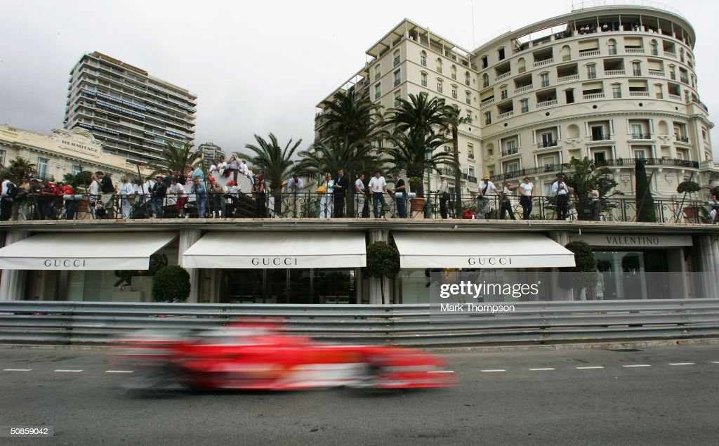 Michael Schumacher of Germany and Ferrari speeds through the streets of Monte Carlo during practice for the Monaco F1 Grand Prix on May 20, 2004, in Monte Carlo, Monaco.