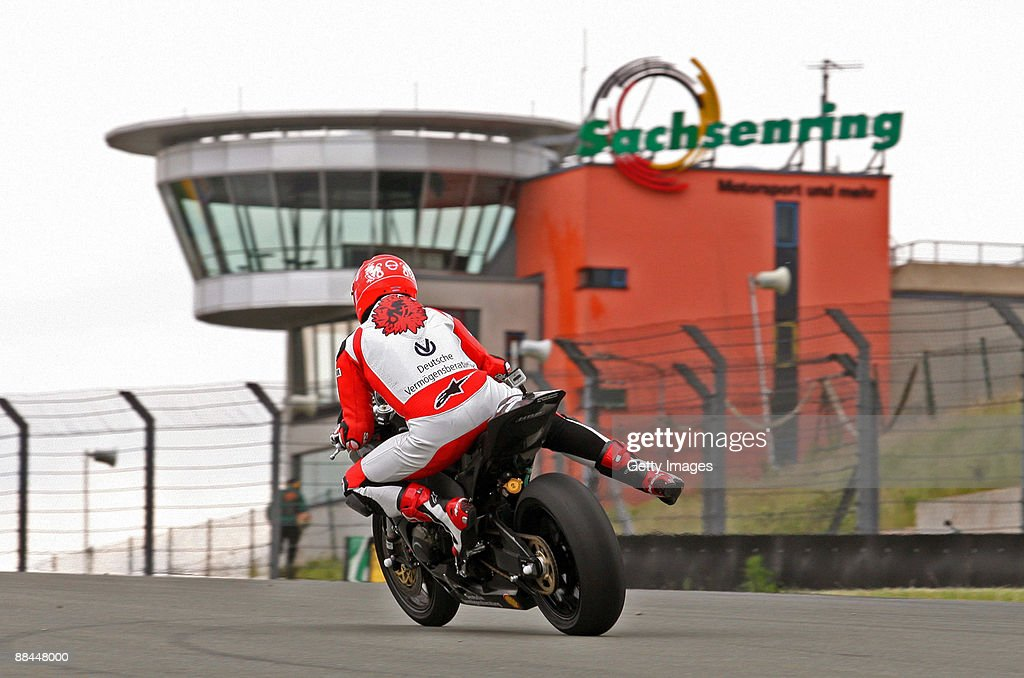 Michael Schumacher of Germany and Holzhauser Racing Team rides his bike during the International German Championship IDM training session at...