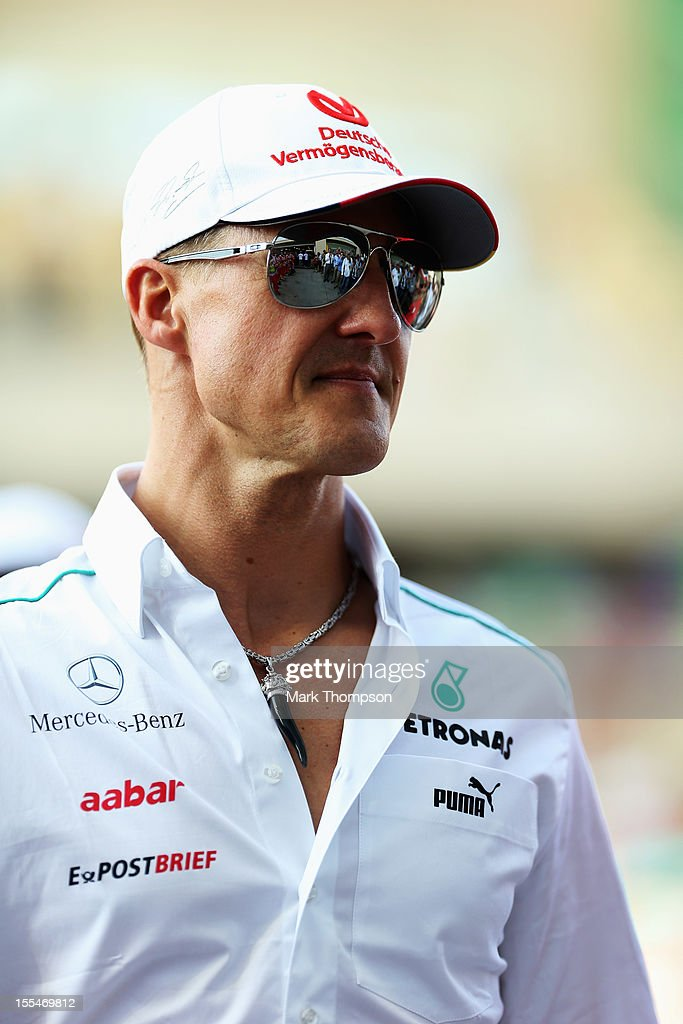 <a gi-track='captionPersonalityLinkClicked' href=/galleries/search?phrase=Michael+Schumacher&family=editorial&specificpeople=157602 ng-click='$event.stopPropagation()'>Michael Schumacher</a> of Germany and Mercedes GP attends the drivers parade before the Abu Dhabi Formula One Grand Prix at the Yas Marina Circuit on November 4, 2012 in Abu Dhabi, United Arab Emirates.