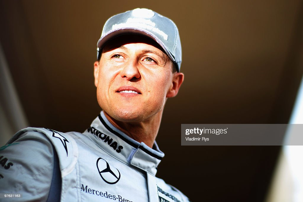 <a gi-track='captionPersonalityLinkClicked' href=/galleries/search?phrase=Michael+Schumacher&family=editorial&specificpeople=157602 ng-click='$event.stopPropagation()'>Michael Schumacher</a> of Germany and Mercedes GP attends the drivers official portrait session during previews to the Bahrain Formula One Grand Prix at the Bahrain International Circuit on March 11, 2010 in Sakir, Bahrain.