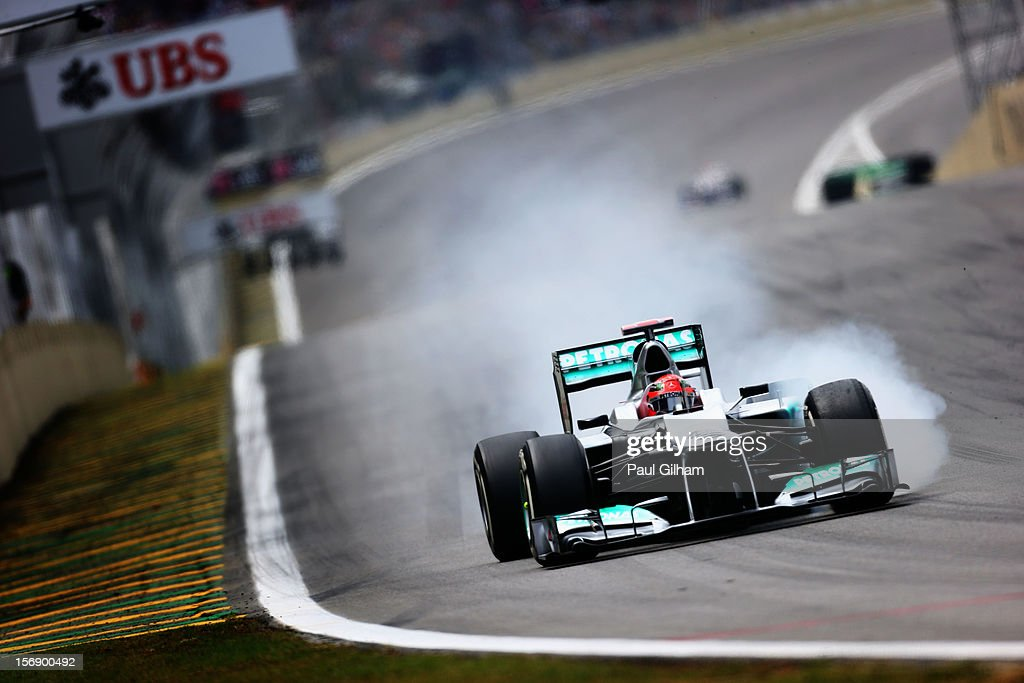 <a gi-track='captionPersonalityLinkClicked' href=/galleries/search?phrase=Michael+Schumacher&family=editorial&specificpeople=157602 ng-click='$event.stopPropagation()'>Michael Schumacher</a> of Germany and Mercedes GP drives during qualifying for the Brazilian Formula One Grand Prix at the Autodromo Jose Carlos Pace on November 24, 2012 in Sao Paulo, Brazil.