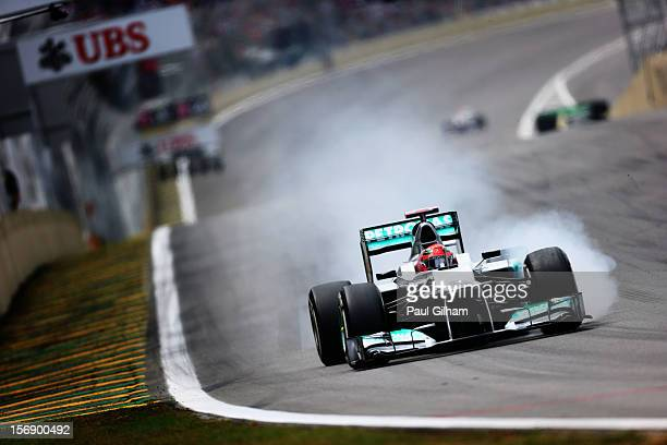 Michael Schumacher of Germany and Mercedes GP drives during qualifying for the Brazilian Formula One Grand Prix at the Autodromo Jose Carlos Pace on...