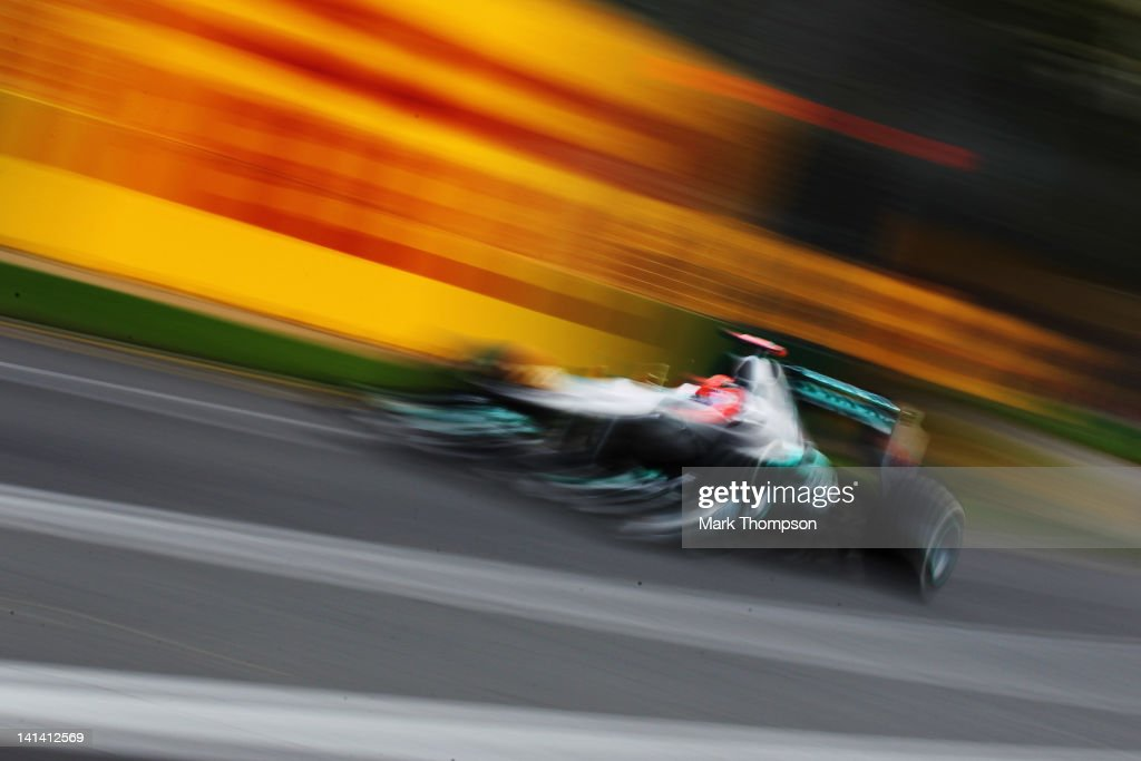 <a gi-track='captionPersonalityLinkClicked' href=/galleries/search?phrase=Michael+Schumacher&family=editorial&specificpeople=157602 ng-click='$event.stopPropagation()'>Michael Schumacher</a> of Germany and Mercedes GP drives during practice for the Australian Formula One Grand Prix at the Albert Park circuit on March 16, 2012 in Melbourne, Australia.