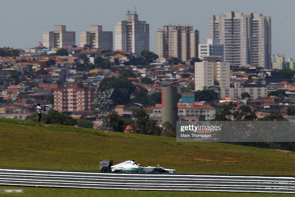 Michael Schumacher of Germany and Mercedes GP drives during practice for the Brazilian Formula One Grand Prix at the Autodromo Jose Carlos Pace on November 23, 2012 in Sao Paulo, Brazil.