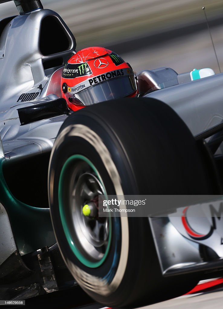 Michael Schumacher of Germany and Mercedes GP drives during the Hungarian Formula One Grand Prix at the Hungaroring on July 29, 2012 in Budapest, Hungary.