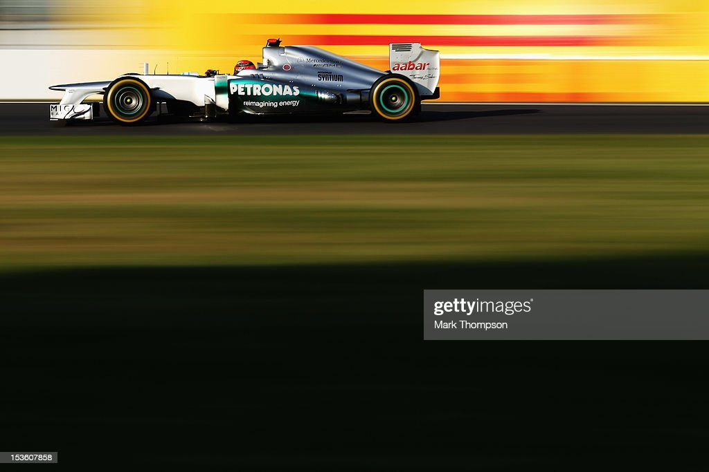 Michael Schumacher of Germany and Mercedes GP drives during the Japanese Formula One Grand Prix at the Suzuka Circuit on October 7, 2012 in Suzuka, Japan.