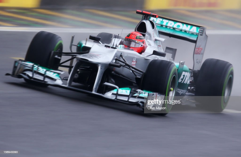 Michael Schumacher of Germany and Mercedes GP drives in his last race during the Brazilian Formula One Grand Prix at the Autodromo Jose Carlos Pace on November 25, 2012 in Sao Paulo, Brazil.
