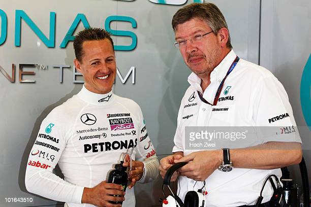 Michael Schumacher of Germany and Mercedes GP is seen with his Team Principal Ross Brawn before the Turkish Formula One Grand Prix at Istanbul Park...