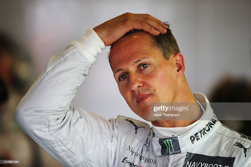 <a gi-track='captionPersonalityLinkClicked' href=/galleries/search?phrase=Michael+Schumacher&family=editorial&specificpeople=157602 ng-click='$event.stopPropagation()'>Michael Schumacher</a> of Germany and Mercedes GP prepares to drive during practice for the British Grand Prix at Silverstone Circuit on July 6, 2012 in Northampton, England.