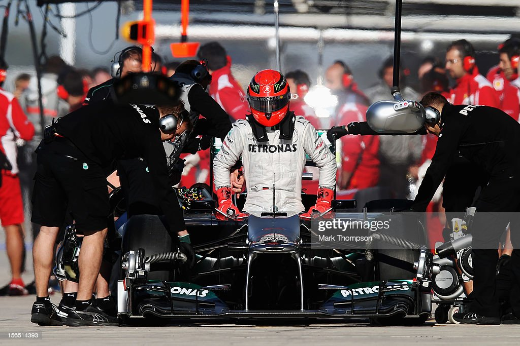 <a gi-track='captionPersonalityLinkClicked' href=/galleries/search?phrase=Michael+Schumacher&family=editorial&specificpeople=157602 ng-click='$event.stopPropagation()'>Michael Schumacher</a> of Germany and Mercedes GP prepares to drive during practice for the United States Formula One Grand Prix at the Circuit of the Americas on November 16, 2012 in Austin, Texas.