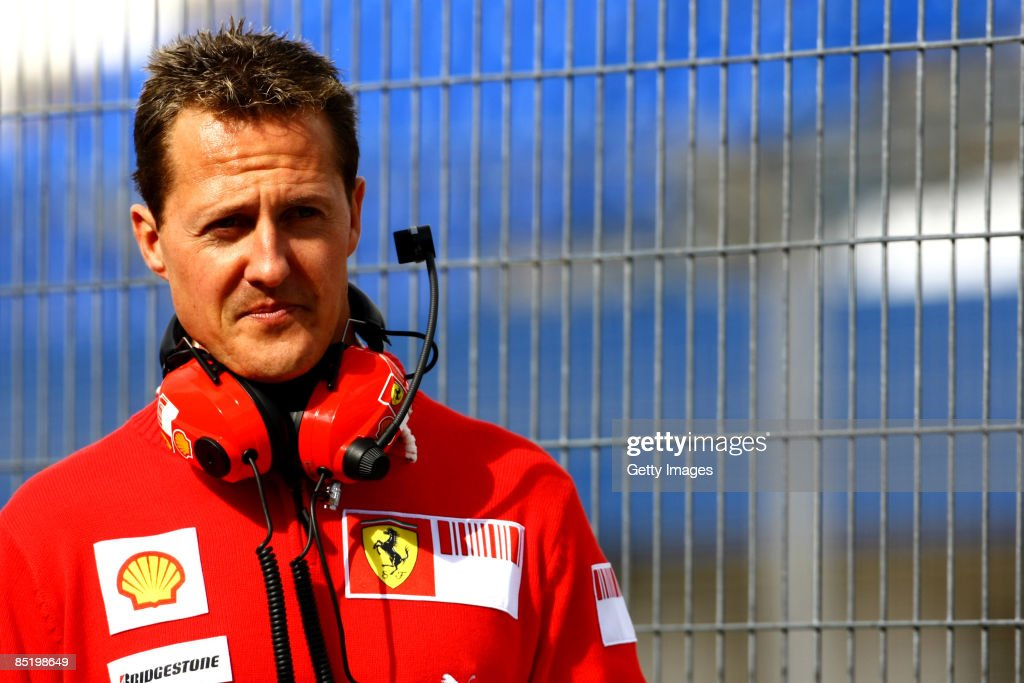 <a gi-track='captionPersonalityLinkClicked' href=/galleries/search?phrase=Michael+Schumacher&family=editorial&specificpeople=157602 ng-click='$event.stopPropagation()'>Michael Schumacher</a> of Germany and team Ferrari visits Formula 1 testing on March 3, 2009 in Jerez de la Frontera, Spain.