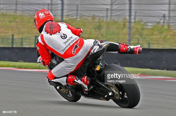 Michael Schumacher of Germany and Team Holzhauer Racing rides his bike during the International German Championship IDM training session at...