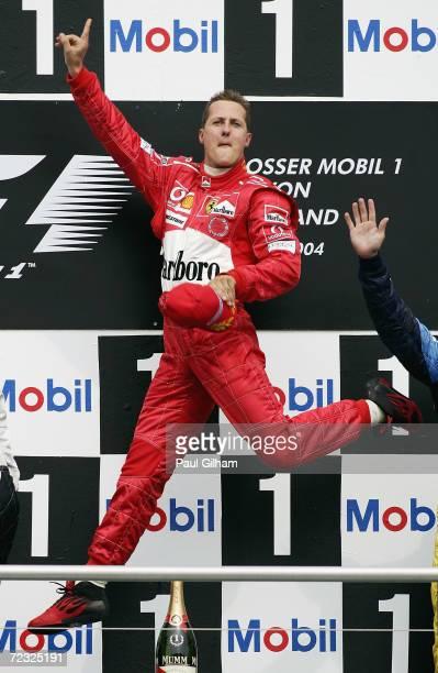 Michael Schumacher of Germany celebrates winning the German F1 Grand Prix at the Hockenheim Circuit on July 25 in Hockenheim Germany