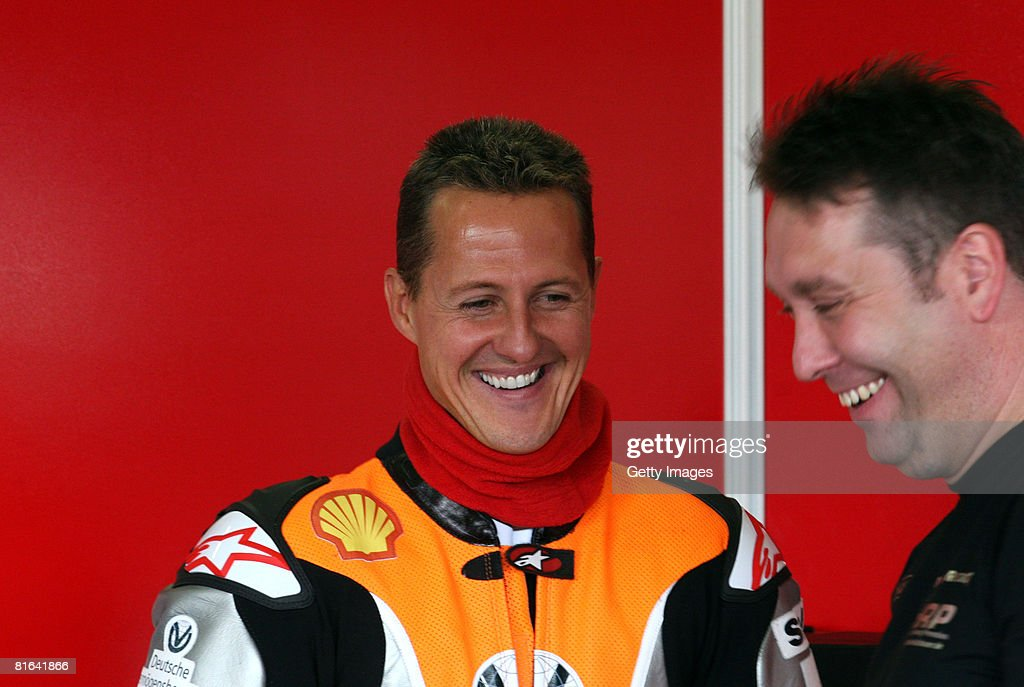 Michael Schumacher of Germany competes during the training session of the international German motorbike championships at the 'Sachsenring' on June...