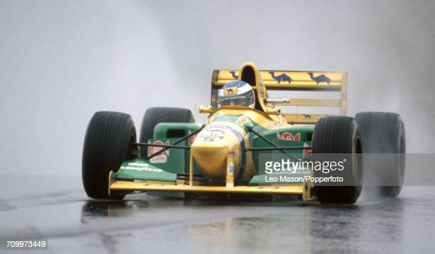 Michael Schumacher of Germany in action driving a Benetton B19B with a Ford HB 35 V8 engine for the Camel Benetton Ford Team during the European...