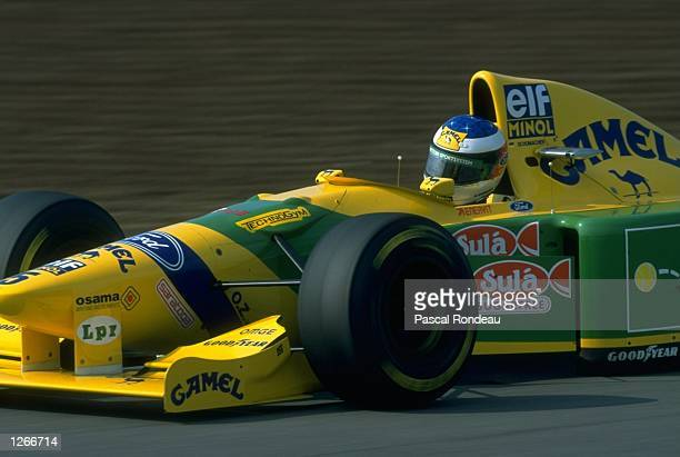 Michael Schumacher of Germany in action in his Benetton Ford during the Spanish Grand Prix at the Barcelona circuit in Spain Schumacher finished in...