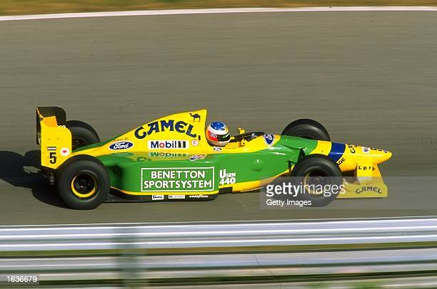 Michael Schumacher of Germany in action in his Benetton Ford during Formula One testing at the Estoril circuit in Portugal Mandatory Credit Allsport...