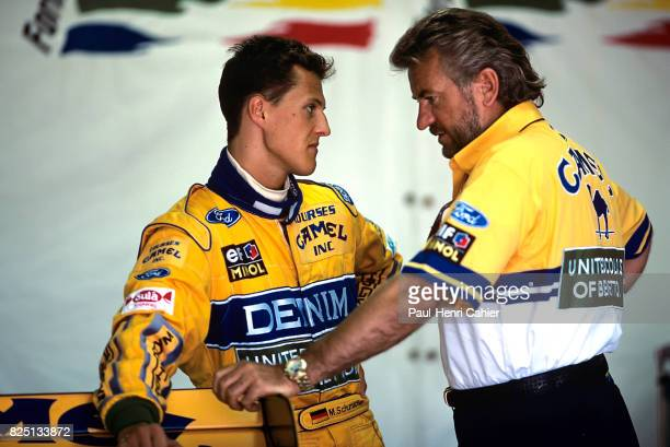 Michael Schumacher Willy Weber Grand Prix of Great Britain Silverstone 11 July 1993 Michael Schumacher discussing with manager Willy Weber