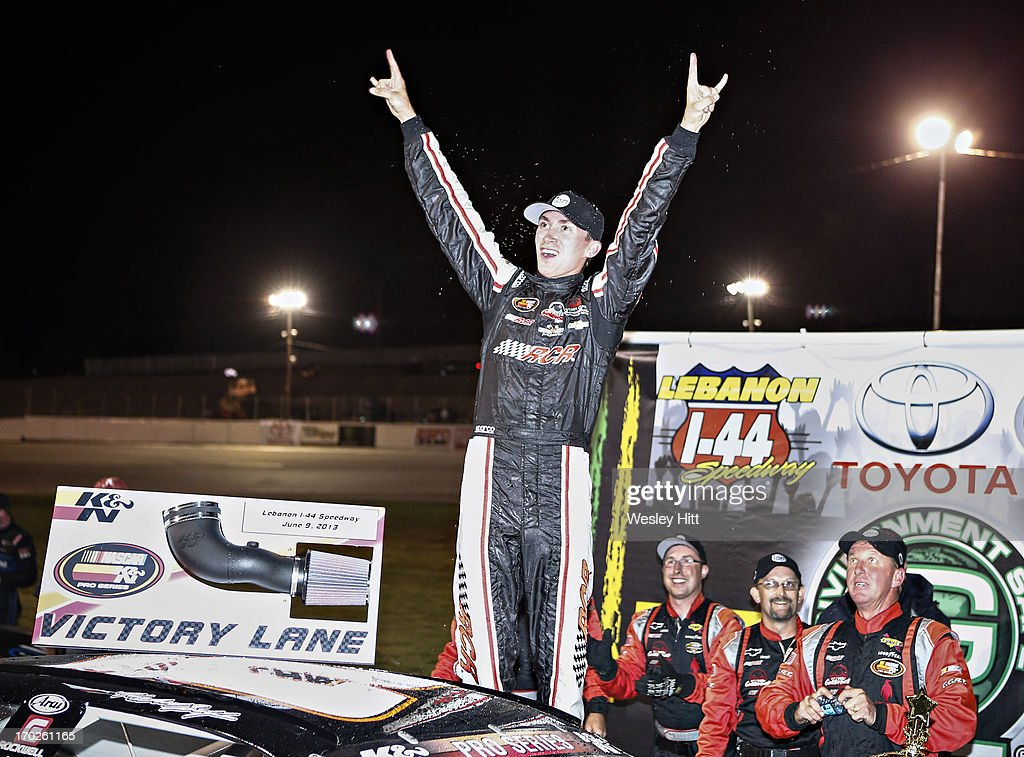 Michael Self, driver of the Cabinets by Hayley Ford, celebrates in Victory Lane after winning the Toyota/G-Oil 150 race at the I-44 Speedway on June 9, 2013 in Lebanon, Missouri.