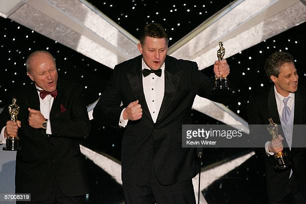 Michael Semanick Michael Hedges and Hammond Peek accept their award for Best Achievement in Sound Mixing for the film 'King Kong' during the 78th...