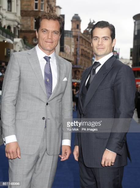 Michael Shannon and Henry Cavill arriving for the European premiere of Man of Steel at the Odeon Leicester Square London