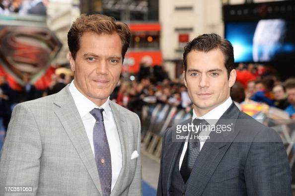 Michael Shannon and Henry Cavill attend the European premiere of 'Man Of Steel' at The Empire Leicester Square on June 12 2013 in London England