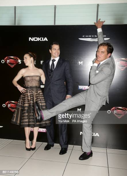 Michael Shannon as he waits to pose for photos with stars Amy Adams and Henry Cavill during the European premiere of Man of Steel at the Odeon...