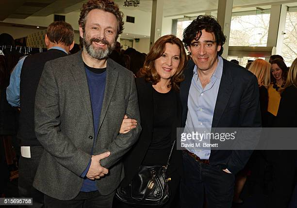 Michael Sheen Barbara Broccoli and Stephen Mangan attend the 2016 Into Film Awards at Odeon Leicester Square on March 15 2016 in London England