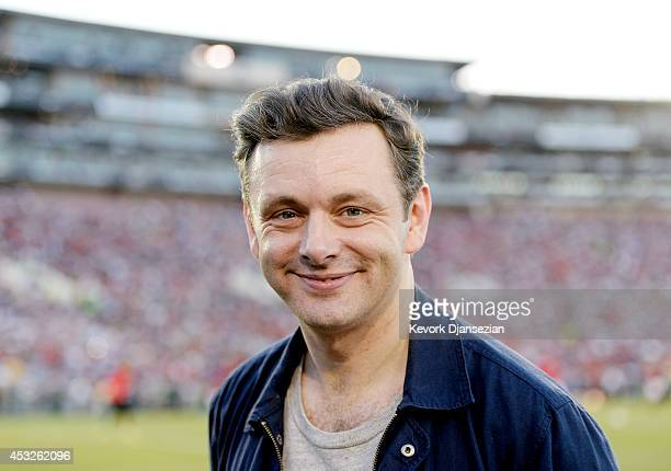 Michael Sheen cast member of the drama series ''Masters of Sex'' on the sideline during the preseason friendly match between Los Angeles Galaxy and...