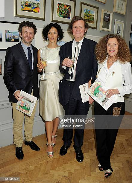 Michael Sheen Indira Varma Sir David Hare and Nicole Fahri attend 'A Celebration Of The Arts' at Royal Academy of Arts on May 23 2012 in London...
