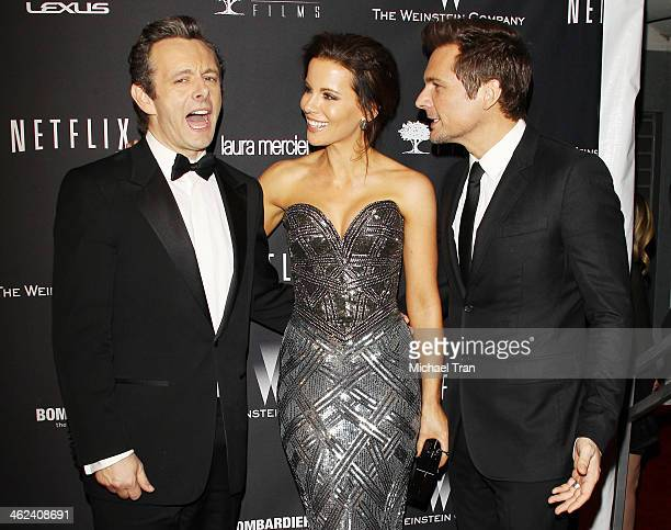 R Michael Sheen Kate Beckinsale and Len Wiseman arrive at The Weinstein Company and NetFlix 2014 Golden Globe Awards after party held on January 12...