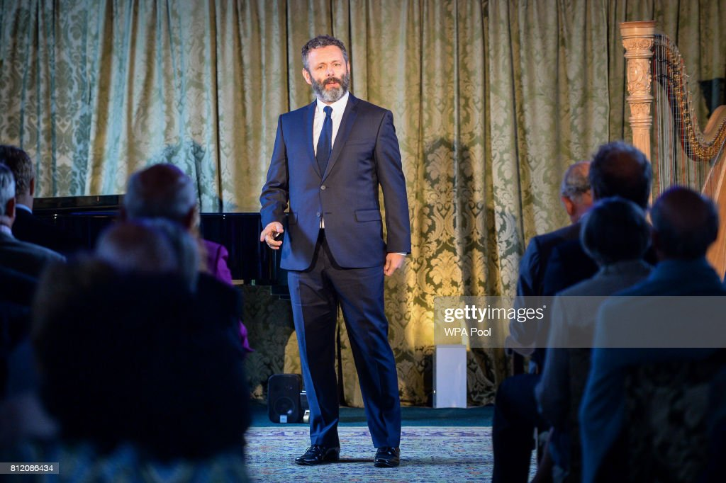 Michael Sheen performs perform for Prince Charles, Prince of Wales at his Welsh home near Llandovery, where he is hosting a music and drama evening, also featuring performances by students of the Royal Welsh College of Music and Drama on July 10, 2017 in Ceredigion, Wales.