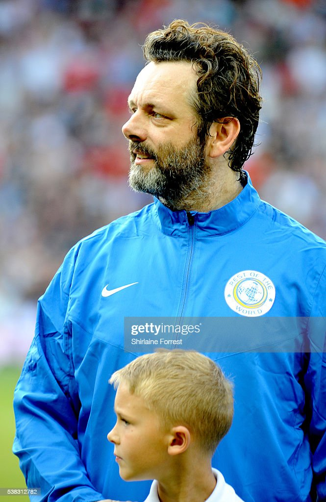 Michael Sheen plays during Soccer Aid at Old Trafford on June 5, 2016 in Manchester, England.