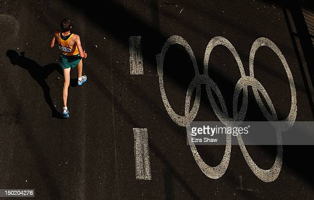 Michael Shelley of Australia competes in the Men's Marathon on Day 16 of the London 2012 Olympic Games on the streets of London on August 12 2012 in...