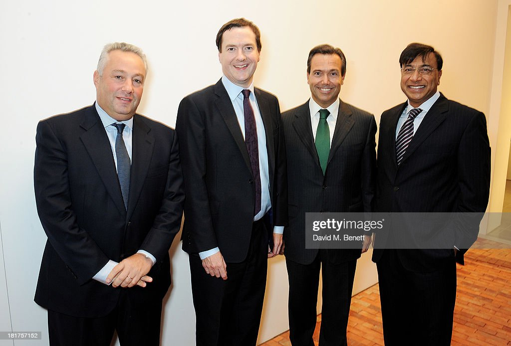 Michael Sherwood Chancellor George Osborne Antonio HortaOsorio and Lakshmi Mittal attend a donors dinner hosted by Michael Bloomberg Graydon Carter...