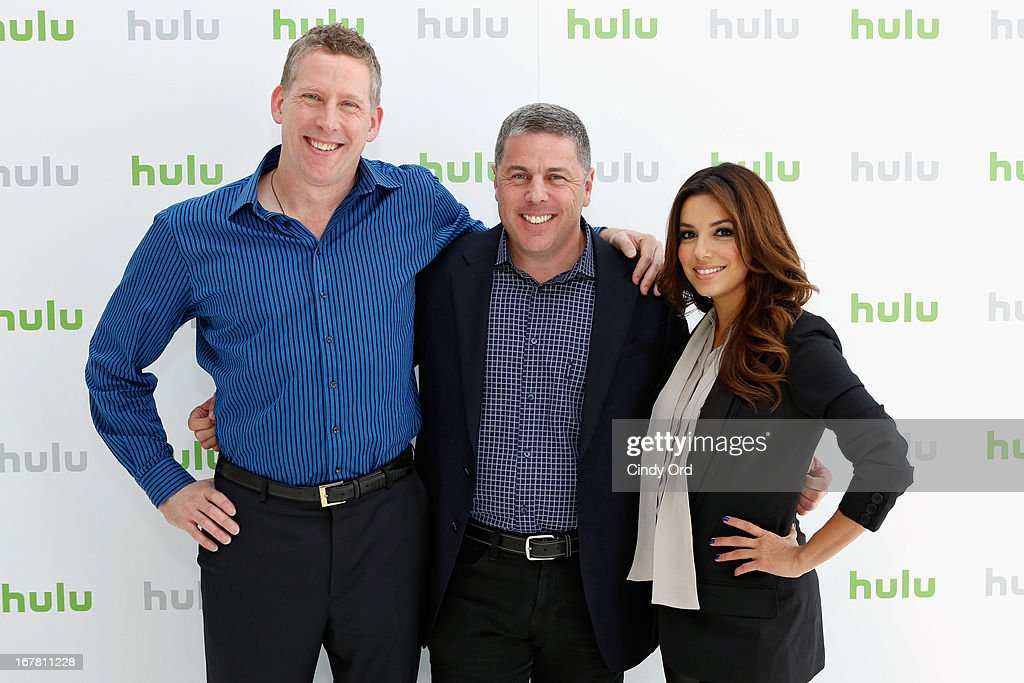 Michael Shipley, Andy Forssell and <a gi-track='captionPersonalityLinkClicked' href=/galleries/search?phrase=Eva+Longoria&family=editorial&specificpeople=202082 ng-click='$event.stopPropagation()'>Eva Longoria</a> attend Hulu NY Press Junket on April 30, 2013 in New York City.