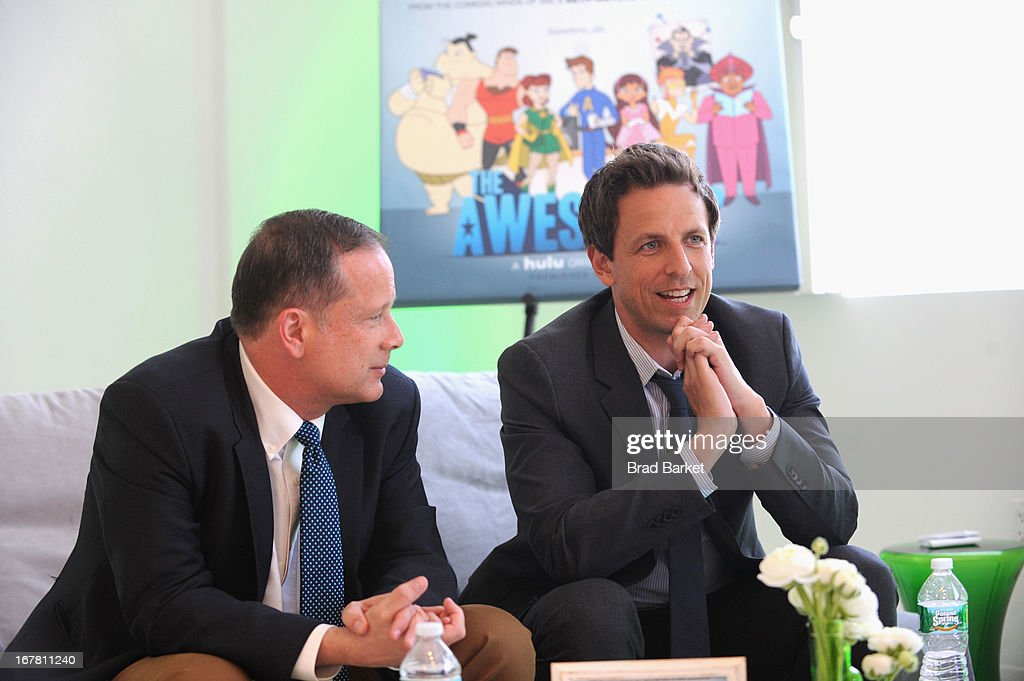 Michael Shoemaker and <a gi-track='captionPersonalityLinkClicked' href=/galleries/search?phrase=Seth+Meyers&family=editorial&specificpeople=618859 ng-click='$event.stopPropagation()'>Seth Meyers</a> attend Hulu NY Press Junket on April 30, 2013 in New York City.