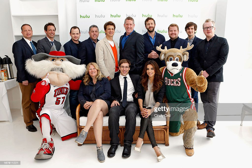 Michael Shoemaker, Seth Meyers, Gideon Raff, Andy Forssell, John Lehr, Michael Shipley, Chris O'Dowd, James Corden, Mathew Baynton, Jim Field Smith, (front row) Jon Goldman, Nancy Hower, Josh Greenbaum, Eva Longoria and Kevin Vanderkolk attend Hulu NY Press Junket on April 30, 2013 in New York City.