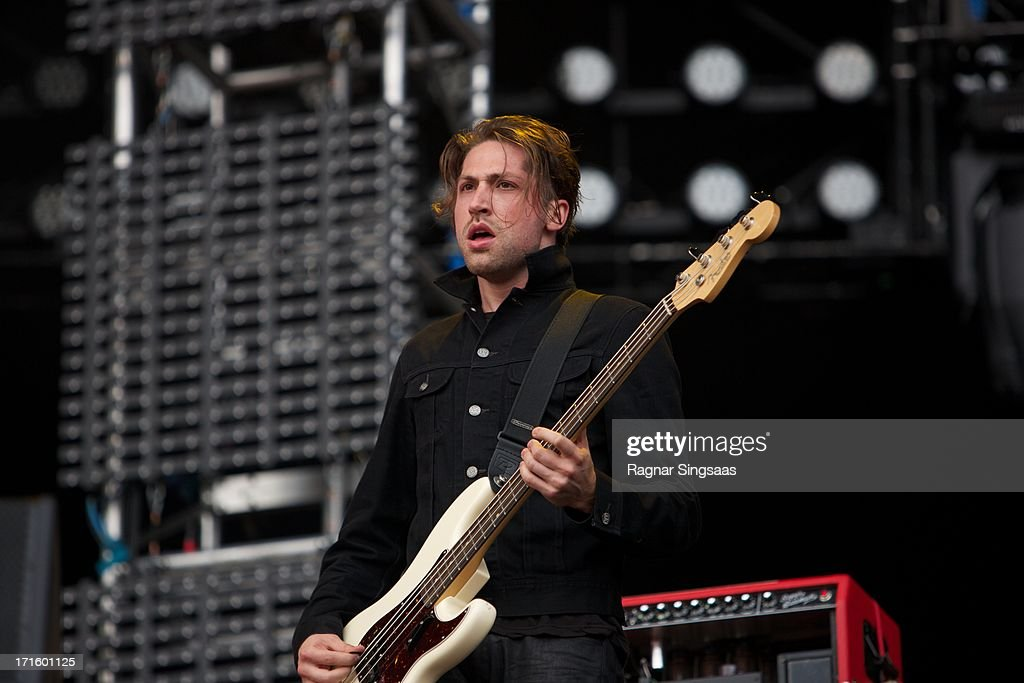 Michael Shuman of Queens of the Stone Age performs on stage on Day 1 of Rock The Beach Festival on June 26, 2013 in Helsinki, Finland.