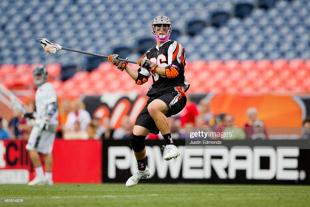 Michael Simon of the Denver Outlaws winds up on his way to shooting and scoring a two point goal that put the game away during the fourth quarter...