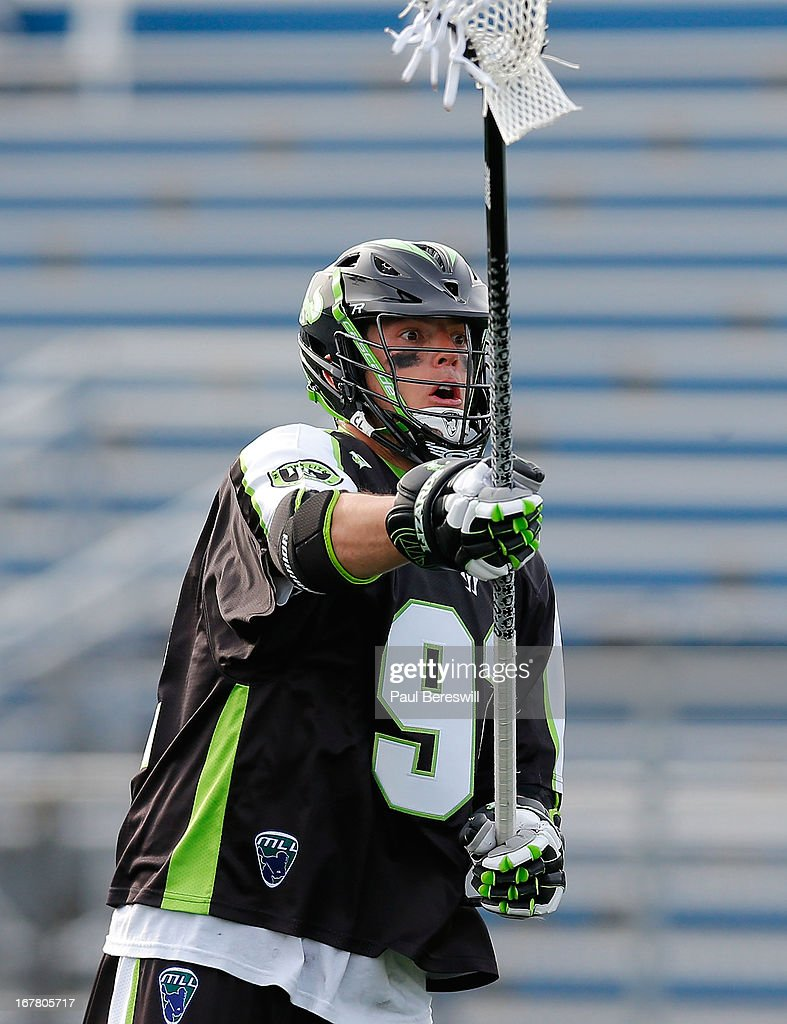 Michael Skudin #92 of the New York Lizards in action during a Major League Lacrosse game against the Boston Cannons at James M. Shuart Stadium on April 28, 2013 in Hempstead, New York.