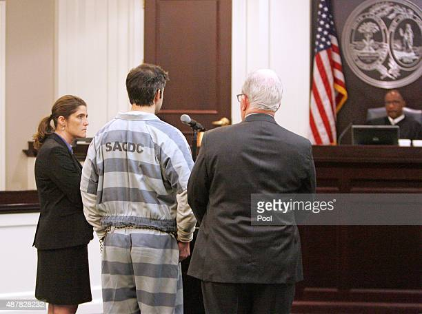 Michael Slager at the podium on Friday the former North Charleston police officer spoke in court for the first time to circuit Judge Clifton Newman...