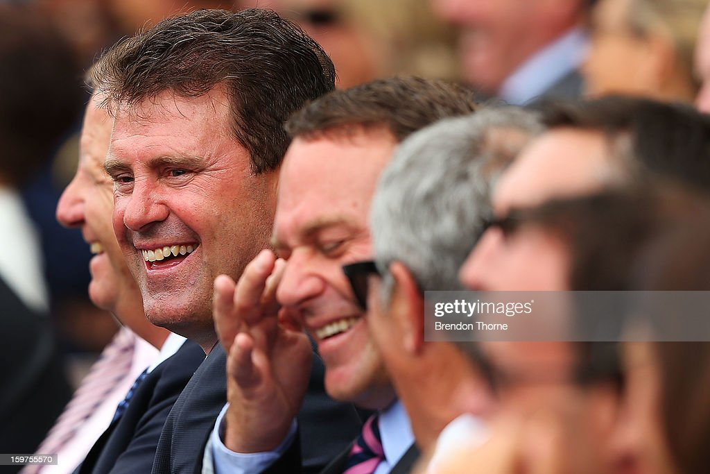 Michael Slater and Mark Taylor share a joke during the Tony Greig memorial service at Sydney Cricket Ground on January 20, 2013 in Sydney, Australia.