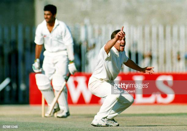 Michael Slater of Australia appeals for the wicket of Waqar Younis during the second test match between Pakistan and Australia October 9 1994 in...