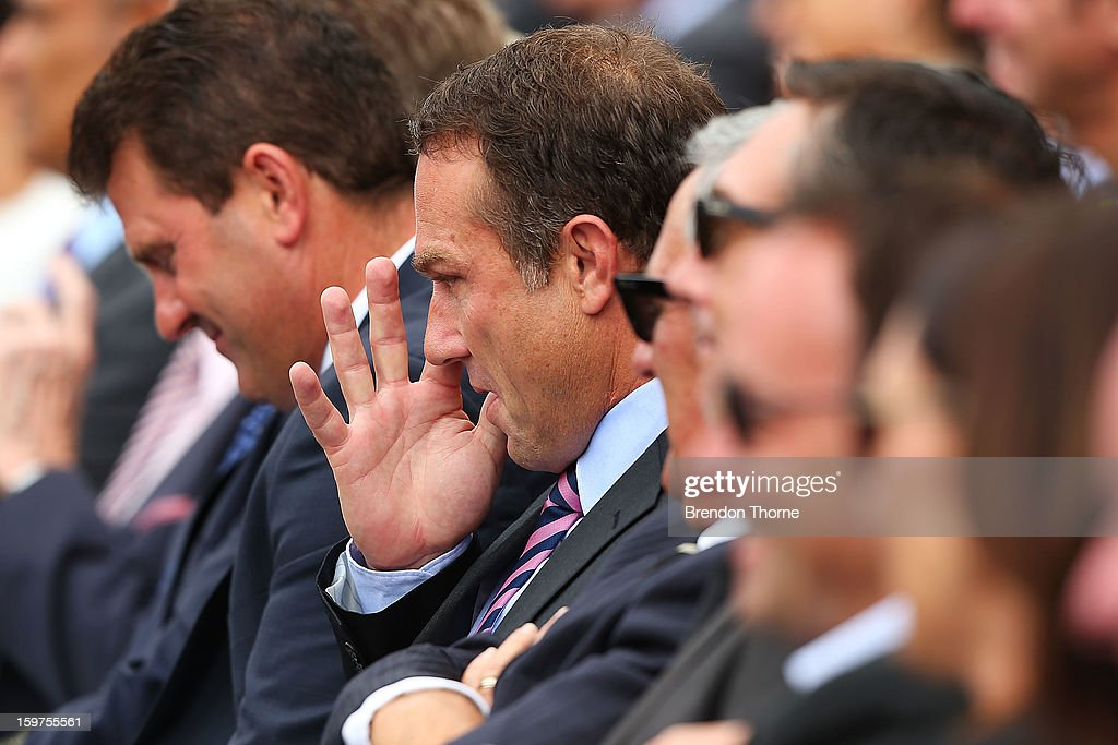 Michael Slater wipes away tears during the Tony Greig memorial service at Sydney Cricket Ground on January 20, 2013 in Sydney, Australia.