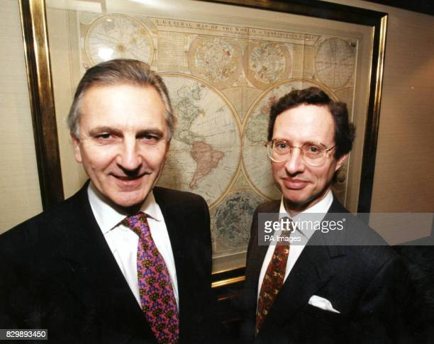 Michael Small nonexecutive deputy chairman of Fenchurch plc and David Margrett chief executive of Lowndes Lambert Group Holdings plc at the...