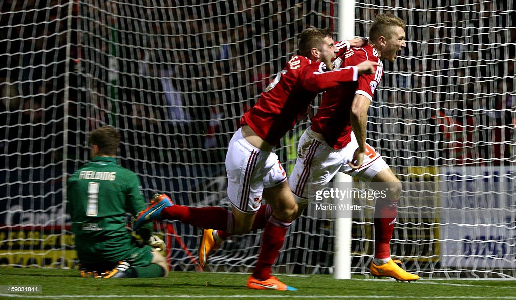Michael Smith of Swindon Town celebrates scoring the winning goal during the Sky Bet League One match between Swindon Town and Bristol City at County...