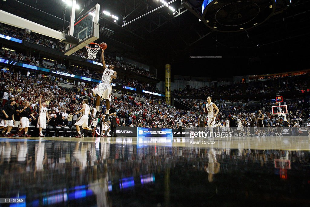 Michael Snaer of the Florida State Seminoles takes a layup after the buzzer against the St Bonaventure Bonnies during the second round of the 2012...
